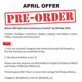 April pre-order offer now on :)) Order before 20th April, ETA Mid May 2018