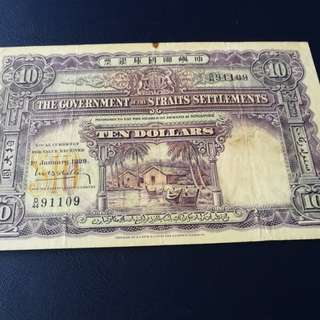Straits settlements $10 1929, original paper ,very crispy with strong embossing and deep Orange RAY on reverse. Rare in condition