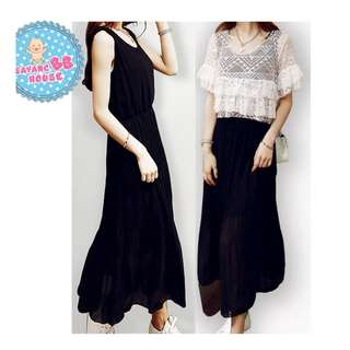 Long Dress With Lace 2 In 1 For Pregnancy Woman Nursing / Maternity Wear