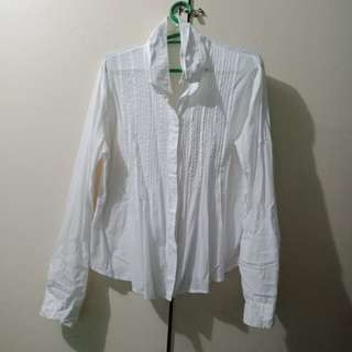 White Button Down Polo Blouse