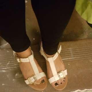 White sandals platforms