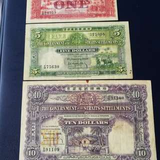 Straits settlements 1929 set of $1,5&10 dollars ,all original good VF to about EF .Scarce in grade