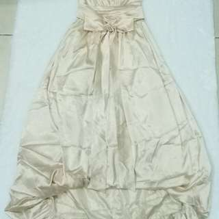 Preloved Long Dress Gaun Ball Gown Party Pesta Cream Satin