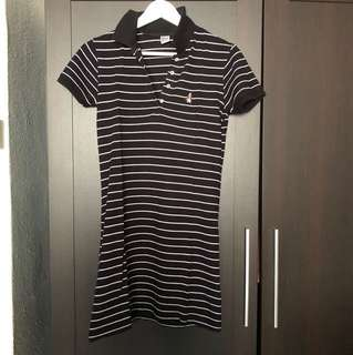 Hush Puppies Black White Striped Polo Dress