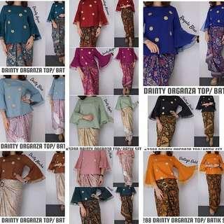 Organza Kurung Top With Batik Pario Skirt
