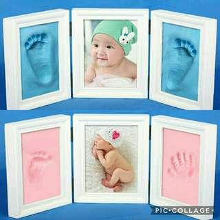 Photo Frame Baby Footprint Foot or Hand Print Cast Set