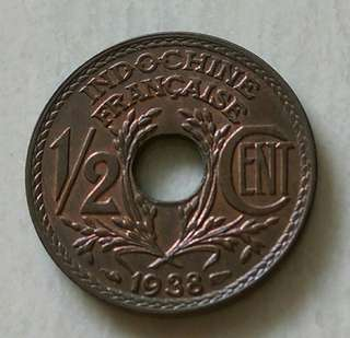 French Indochina 1938 1/2 Cent Coin With Very Good Details