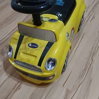 Yellow toy car for riding