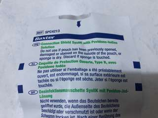 Baxter connection shield sysllk with povidone iodine