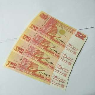 Old sg $2 running number notes 4pc x $3.50