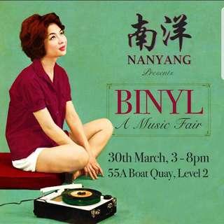 Binyl Vinyl Record Fair 30th April Nanyang Club 55A Boat Quay 3 pm