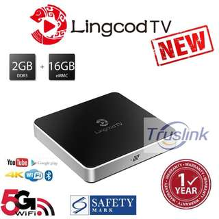 [Original licensed 2 Years Subscription] Lingcod TV LS5 VP9 3D 2GM RAM 16GB ROM Dual Wifi(2.4G/5G) Bluetooth Android 6.0 Chinese IPTV S905X Quad Core H.265 UHD 4K---Black