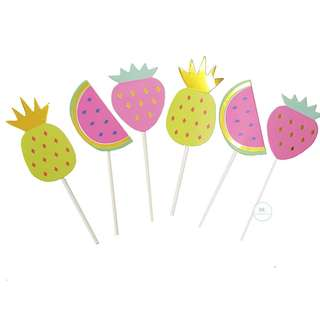 Fruits cupcake topper set pineapple tropical summer birthday party watermelon