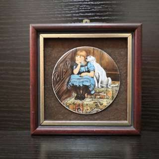 Girl with dog viterous enamel on copper hand made in uk