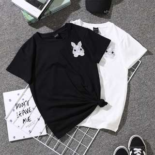 Korean Bunny Embroidered T-shirt