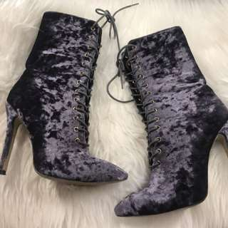Marco Gianni Velvet Lace Up Boots