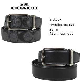 Coach MODERN HARNESS CUT-TO-SIZE REVERSIBLE SIGNATURE COATED CANVAS BELT F64825 black