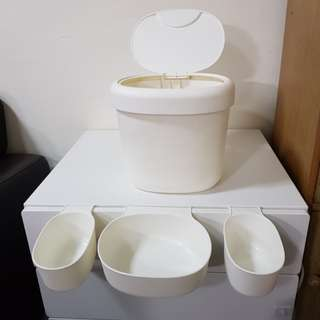 Ikea trash bin and hang-on containers