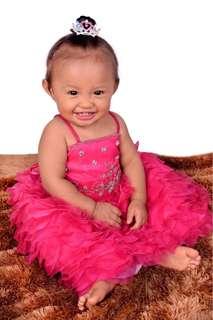 Pink Gown for 1yearold. girl (fuschia)