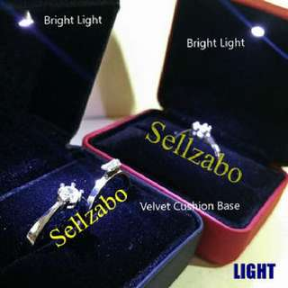 求婚结婚交换 单/双戒指盒子 Led灯 黑红色高贵