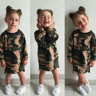 Newborn kids Baby Girls  Toddler  Camo long Dress Warm Autumn