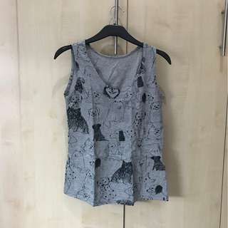 Dog Patterned Tank Top