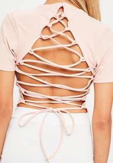 Missguided pink tie back crop top