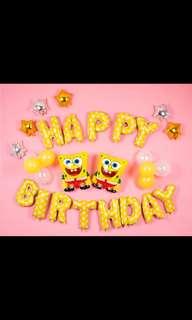 🦄 [Instock] Happy Birthday Party Decor Balloon Sets - Spongebob Squarepants