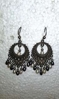 Black and White Pearl Chandelier Earrings