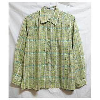 vintage 春意盎然細格紋細緻復古襯衫