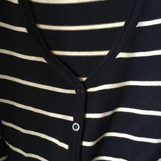 [SALE] Striped cardigan in navy and white | 👚318-C08
