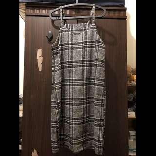 🚚 格紋氣質吊帶裙