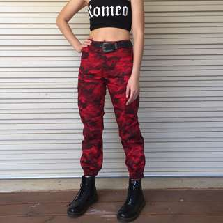 RED CAMO TRACKSUIT PANTS