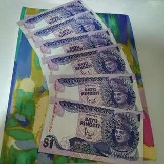 MALAYSIA RM1 6th Series x 6 pcs