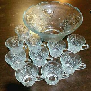 FLOWERS Punch Bowl and 10 cups Set