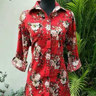 Red Floral Long Polo