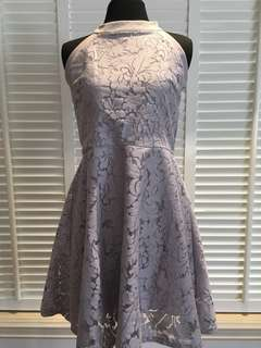 Gray Lace Haltered Dress