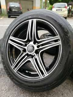 Enkei vip 15 inch sports rim saga flx tyre 70%.