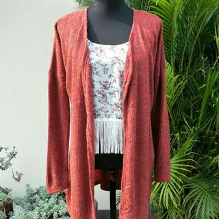 Red Long Cardi