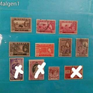 Set of Malaya stamps