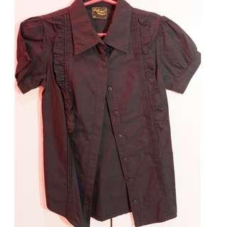 Red girl black blouse