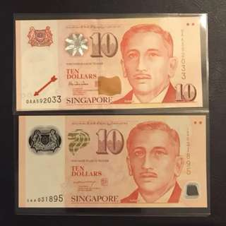 0AA $10 Paper and Polymer (LHL) Set - UNC
