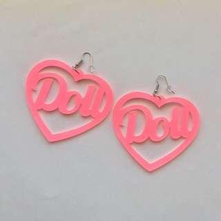 PINK DOLL HEART EARRINGS