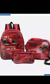 PO mc Queen bag ht 31cm /lunchbox bag and pencils case set