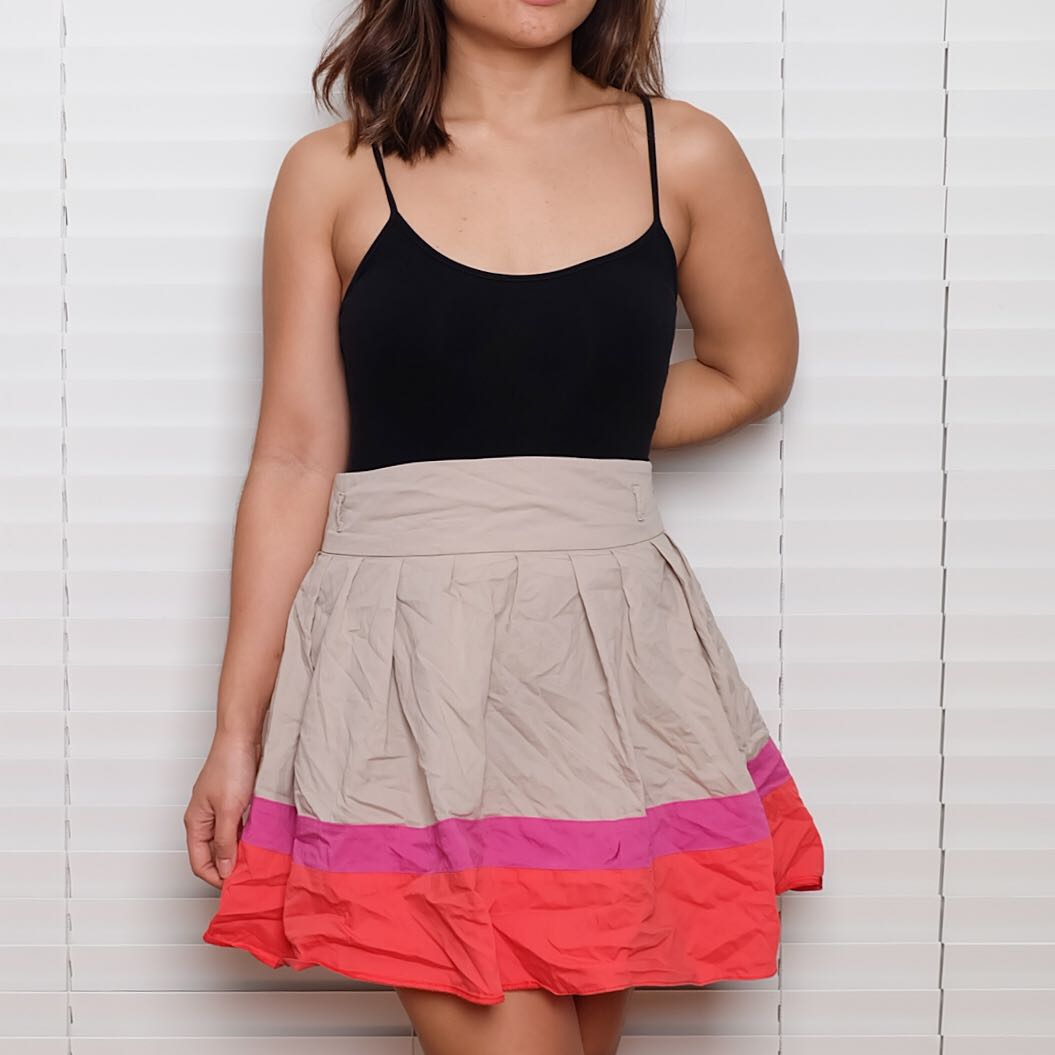 Atmosphere Khaki Pink and Orange Skirt
