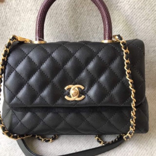 f11245b2fecb Brand new chanel coco handle mini black Cavier with lizard handle ...