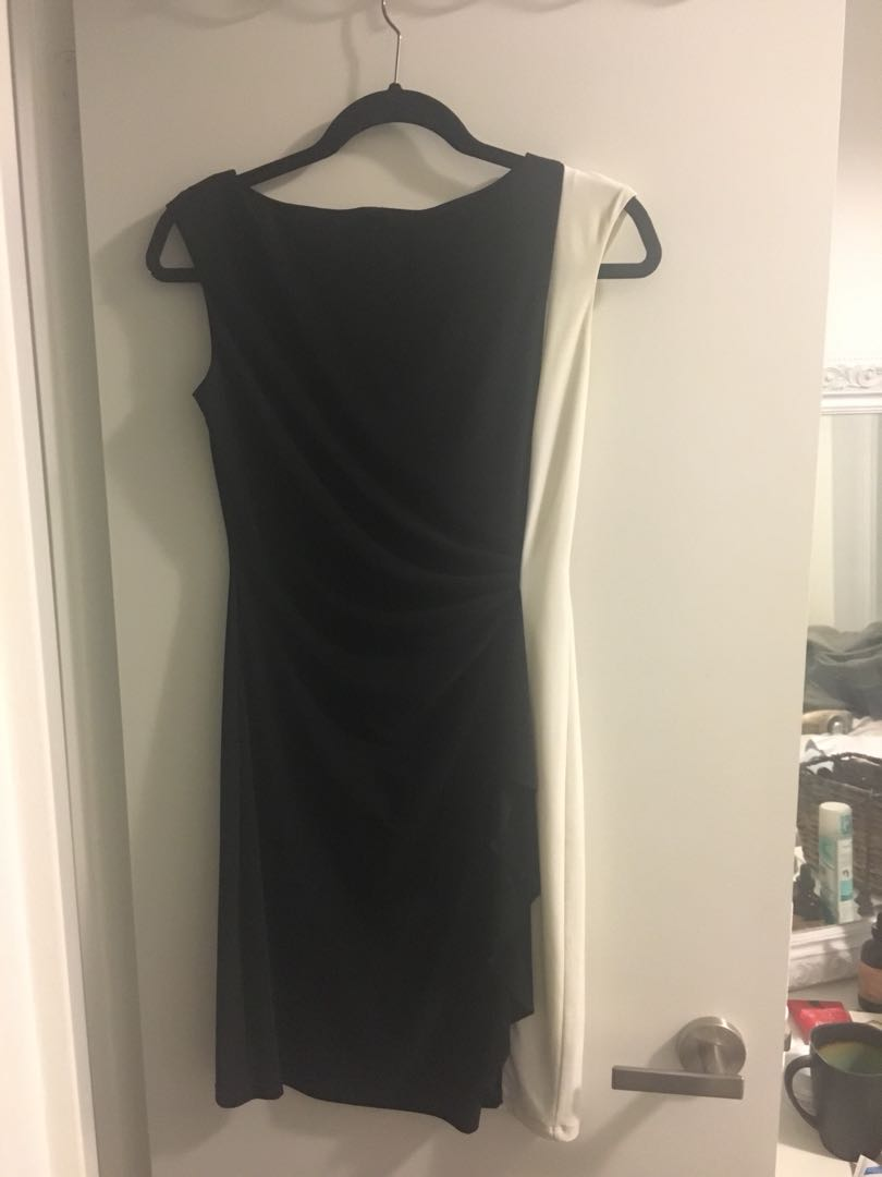 Chaps black and white work dress - size small