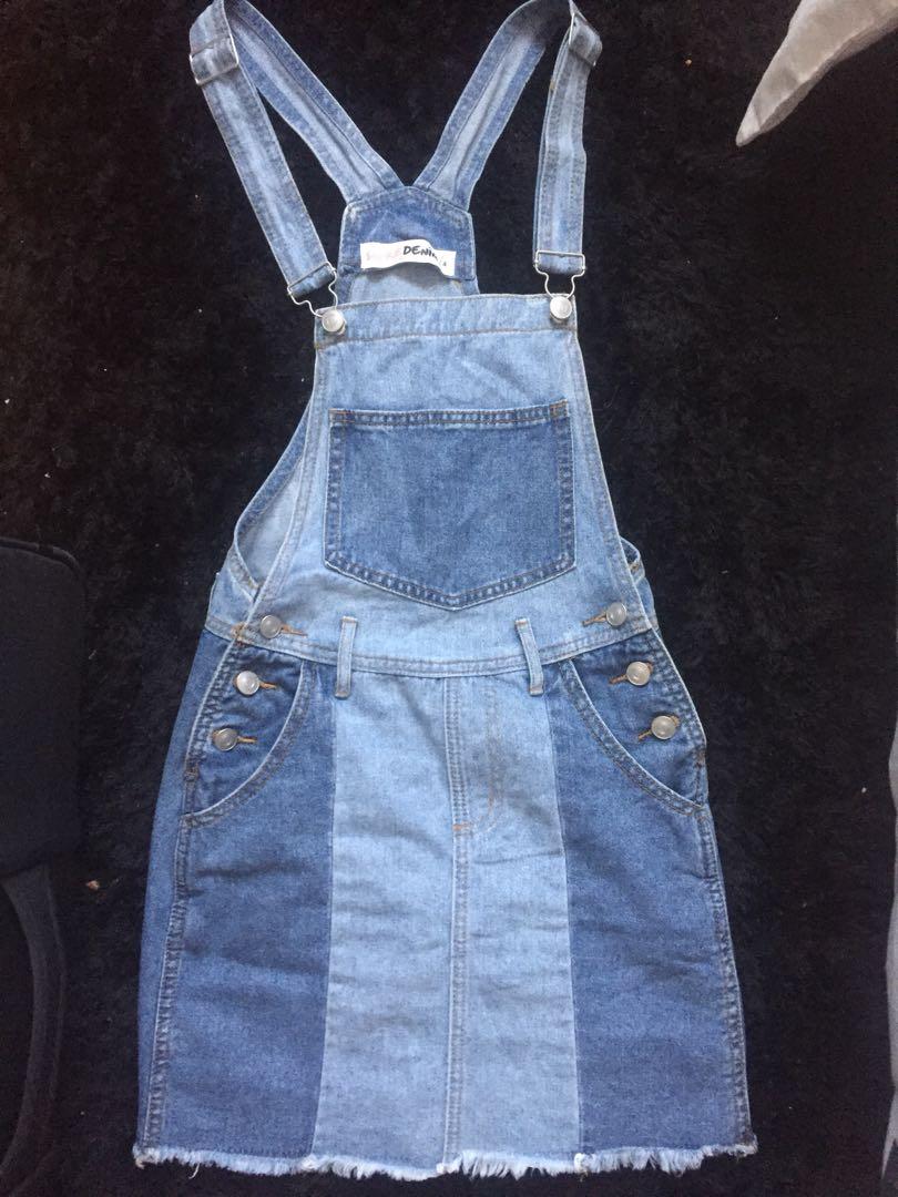 Denim skirt overalls size 4