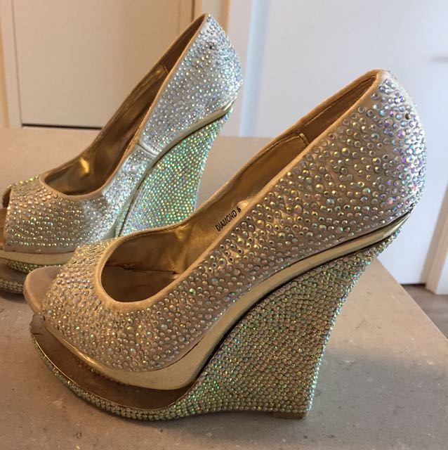 Diamond covered shoes size 7