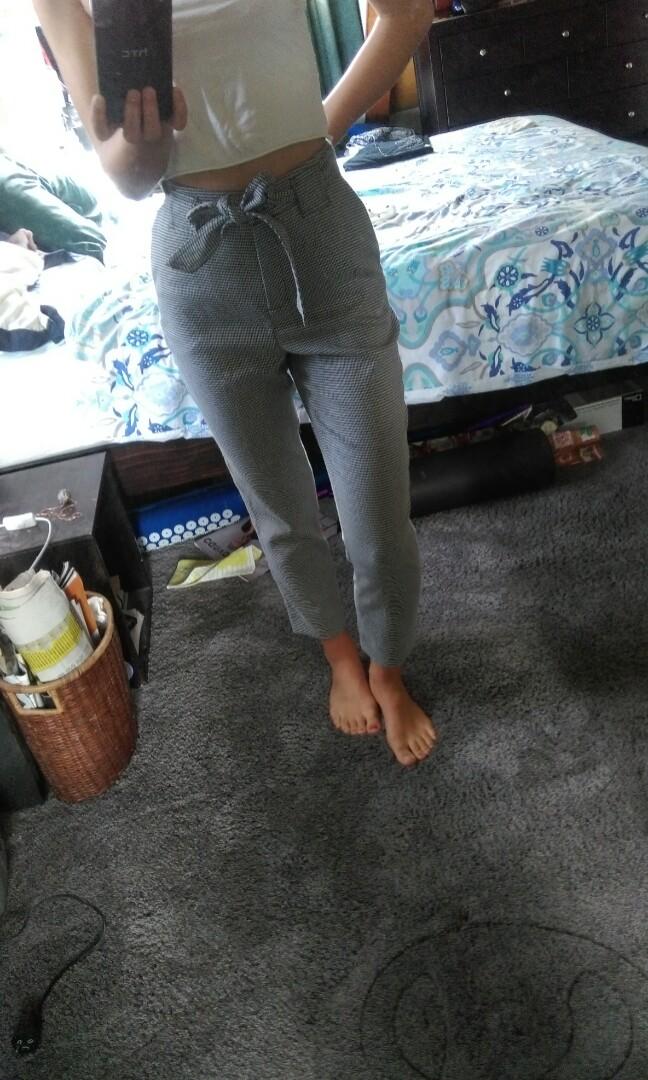 high waisted plad pants